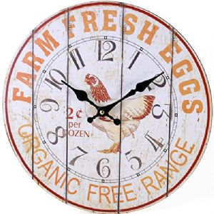 Farm Fresh Eggs Chicken 69123 - Large Rustic Retro Kitchen Wall Clock 34cm